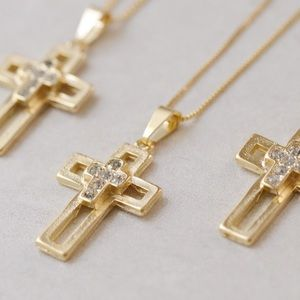 CZ Cross Necklace | 18k Gold Filled